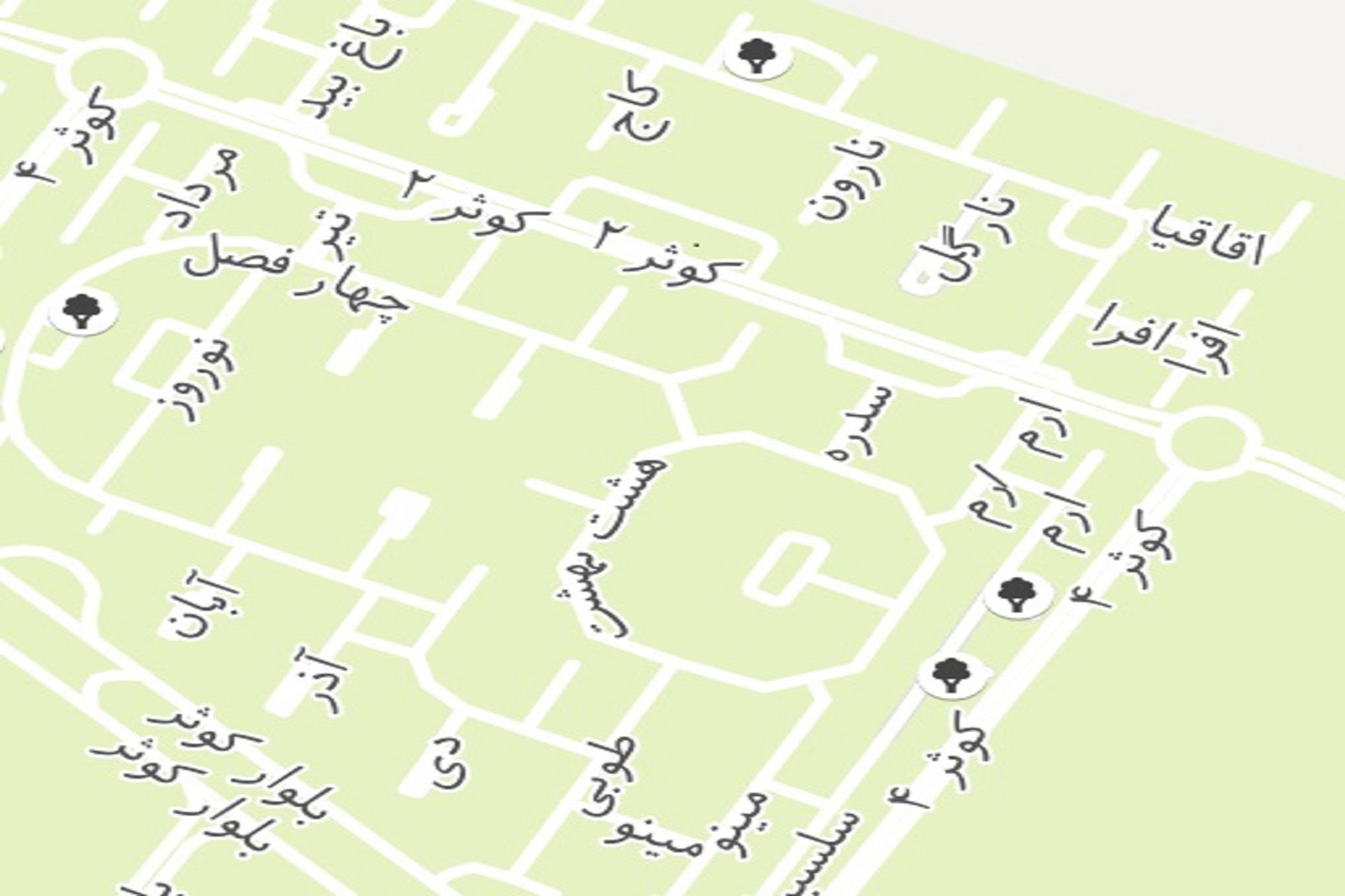 نامگذاری خیابان ها و میادین اصلی و فاز ۱ و ۲ باغات